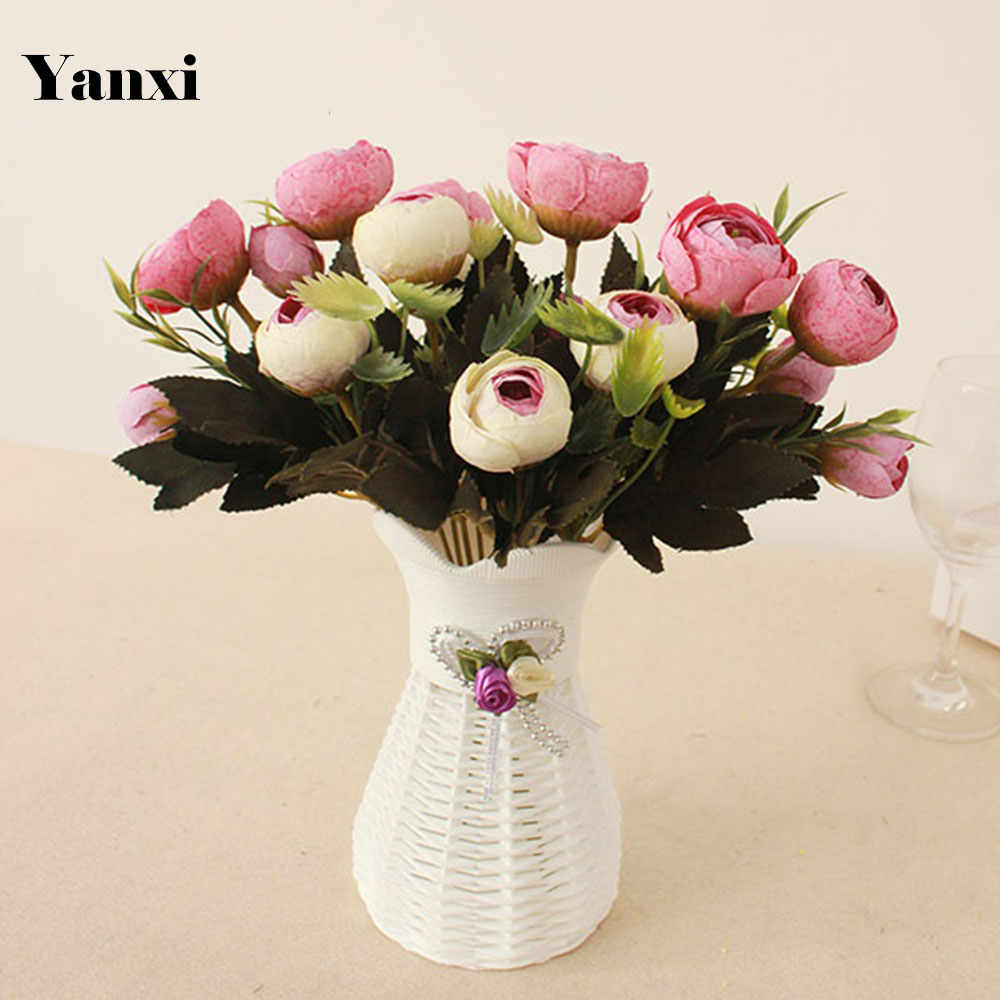 New Artificial Flowers With Vase Set Rose Daisy Home Party