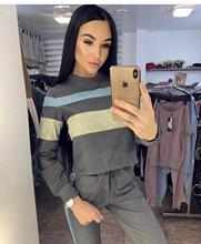 2019 2 Piece Women Set Sweatsuits Causal Top And Pant Tracksuits Patchwork Striped Fitness Femme Suits