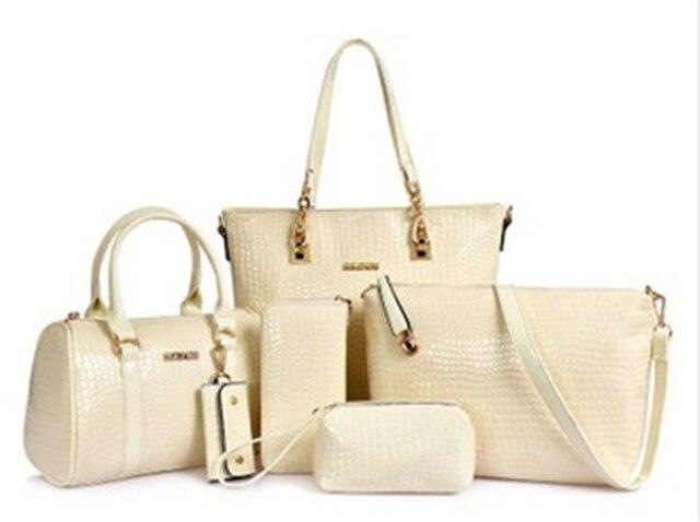 Luxury 6 Set Bags Handbag + Shoulder Bag + Tote + Wallet + Key Bag Patent Leather Design Bag for Women