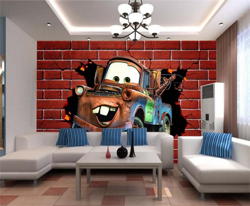 3d wallpaper custom room murals non-woven sticker Cartoon car brick photo TV sofa background wall photo wallpaper for walls 3d