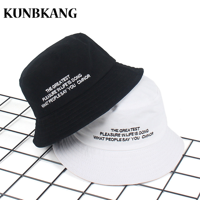 36c0148709 2018 Black White Embroidery Letter Bucket Hat For Men Women Cotton Bob  Panama Cap Summer Beach Sunscreen Cap Fishing Hat Hip Hop
