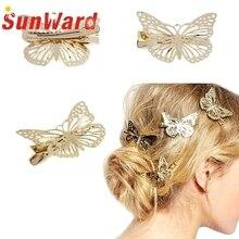 2017 Women Shiny Golden Butterfly Hair Clip Headband Hairpin Accessory Headpiece Hair Accessories ~4