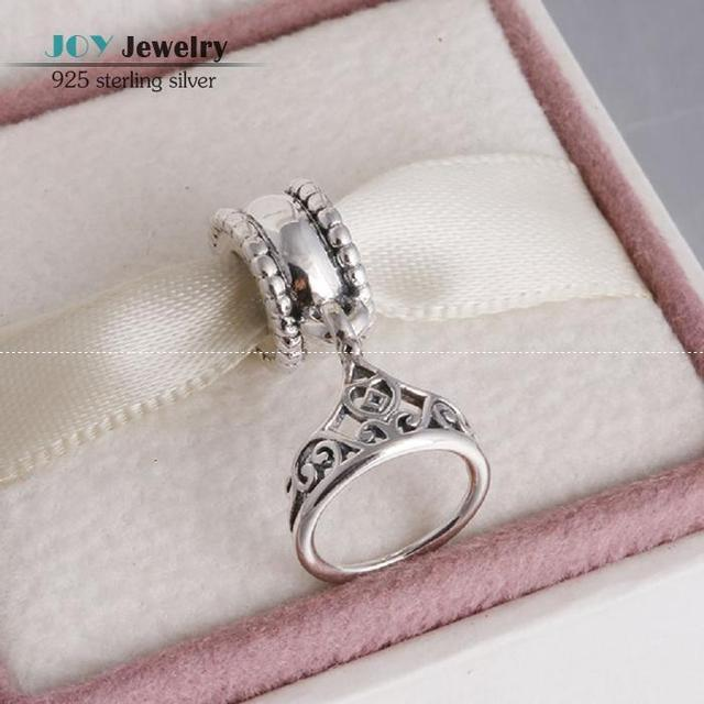 2015 Spring Cartoon Collection 925 Sterling Silver Belle Tiara Princess Crown Dangle Charm Beads For European Bracelets SH0629