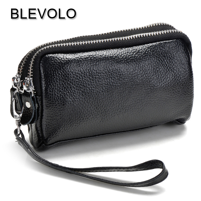 BLEVOLO High Capacity Lady Clutch Wallet Double Zipper Phone Bag Wallets Women Leather Coin Pocket Purse Long Hand Bags Wristlet double layer zipper wallet coin purse cell phone storage pouch bag w hand strap deep pink page 6