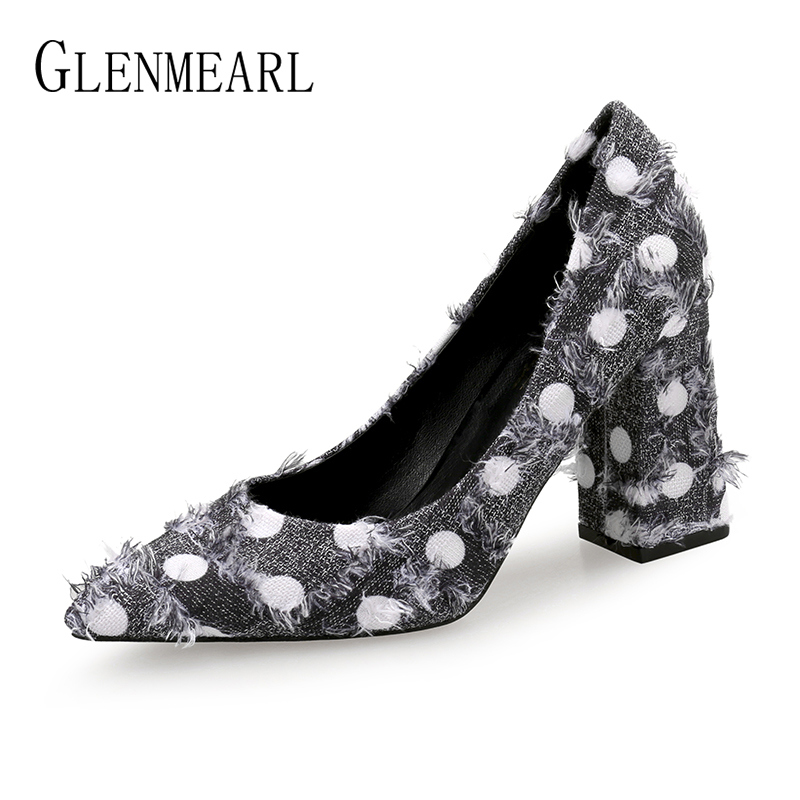 Women Pumps High Heels Shoes Pointed Toe Fashion Tassel Wave Point Party Shoes Woman Thick Heels Brand Female Pumps New Arrival