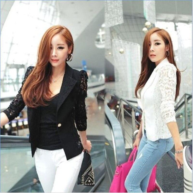Suits & Sets Blazers Fast Deliver Spring Lace Blazer Suit Women One Button Lady Ol Coat Crochet Jacket Outwear Blazers Feminino Fast Color