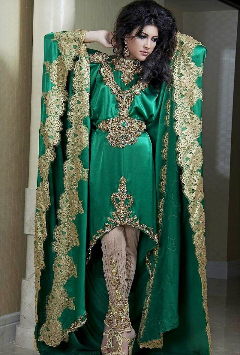 Luxcury Golden Appliques Embroidery Arabic Evening Dresses -9337