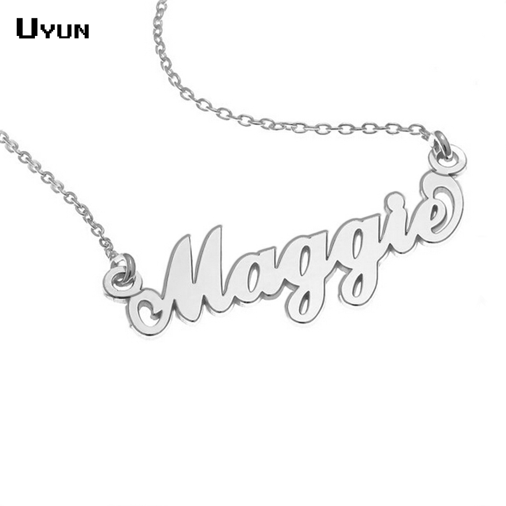Personalized Carrie Style Name Necklace Silver Custom Name