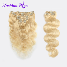 Fashion Plus Clip în extensii de păr uman remy Body clip Wave in Brazilian Machine Made Remy Păr # 613 100% natural de păr uman