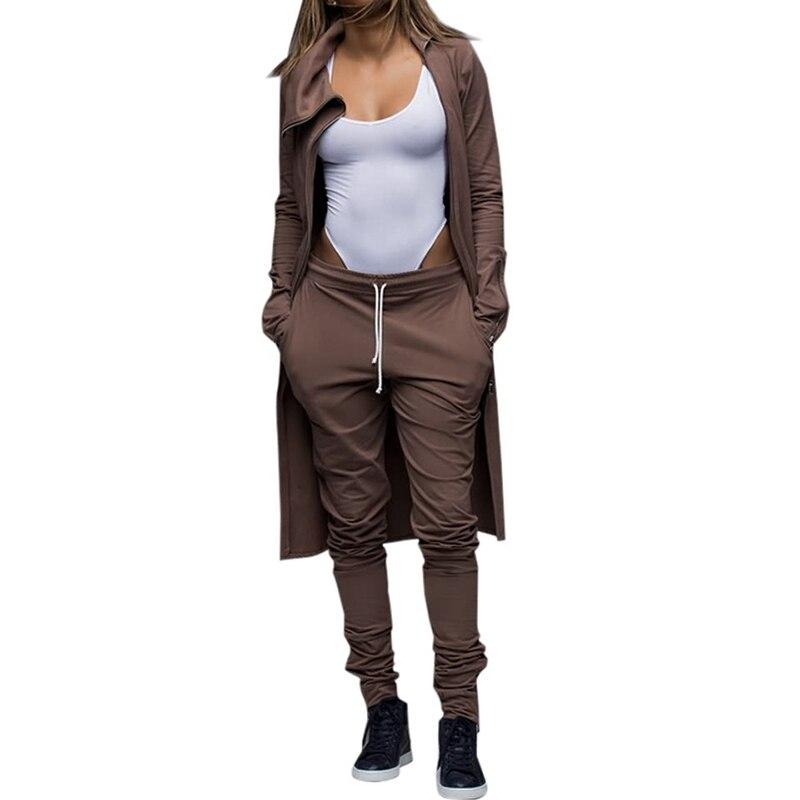 2 Piece Set Women Irregular Coffee Wind Coat And Pants Suits Slim Square Collar Zipper Club Party Feminino Coat And Pencil Pant