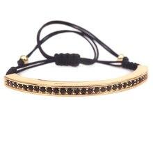 8f7d390eb70c Negro trenzado cuerda Hilos cuerda pulsera con negro CZ tubo largo trenzado  Cuentas pulseras para Mujeres Hombres joyería regalo.