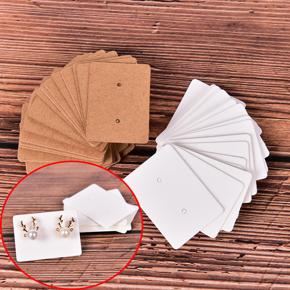 100 Pcs Shining Paper Hang Cards Jewelry Display Cards Ear Studs Hanging Display Holder Marking Garment Prices Label Tags