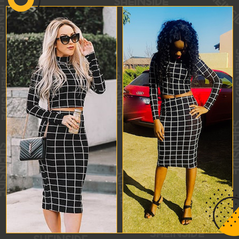 Sheinside Stand Collar Long Sleeve 2 Piece Set Women Crop Grid Top and Pencil Skirt Ladies Elegant Office Ladies Two Piece Set 4