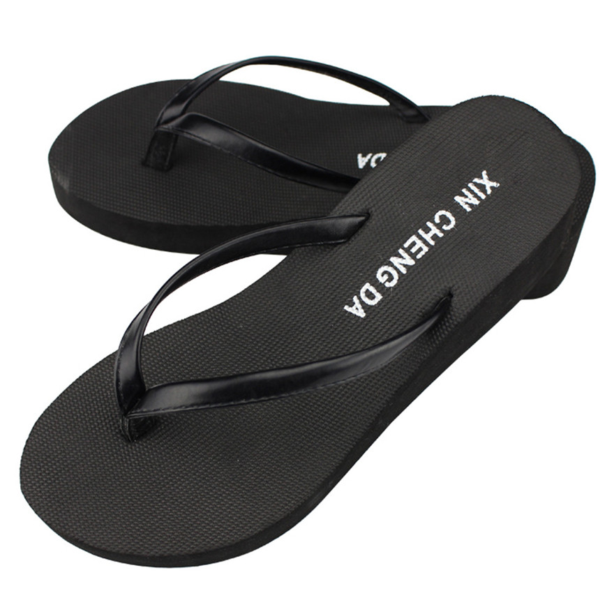 цена New Arrival Casual Summer Girls Wedge Platform Flip Flops Women Beach Sandals Slippers indoor & outdoor Slip-On Casual shoes S