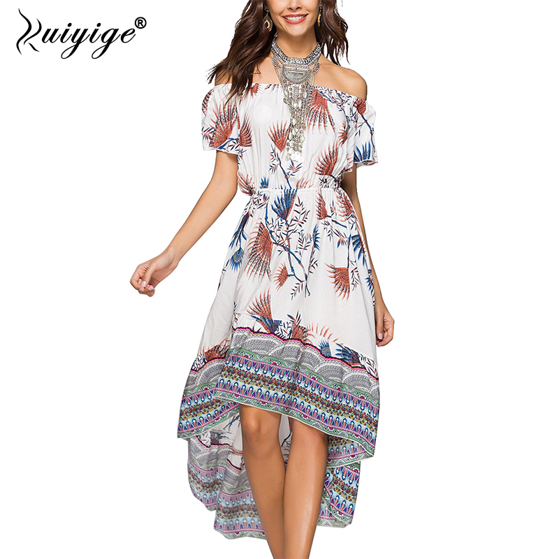 Ruiyige Women Floral Print Maxi Dress Slash Neck Long Party Dresses Irregular Hem Elastic Waistband 2018 Summer Bench Vestidos