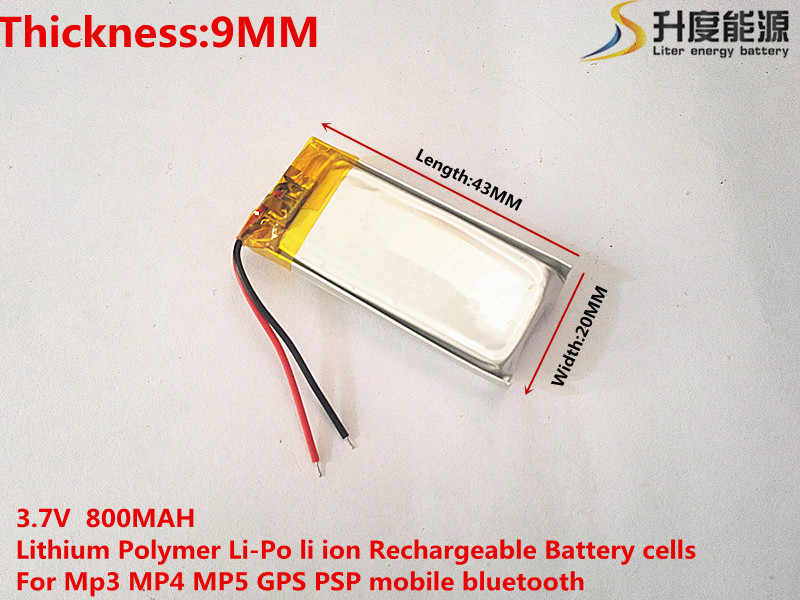 Лучший аккумулятор бренд 3,7 в литий-полимерный аккумулятор 902043 MP3 MP4 MP5 gps 800 мА/ч, беспроводные наушники с микрофоном