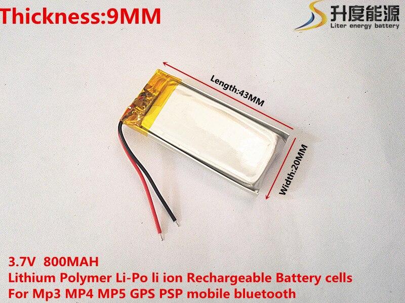 Migliore marca batteria 3.7 V batteria ai polimeri di litio 902043 MP3 MP4 MP5 GPS 800 MAH auricolare senza fili
