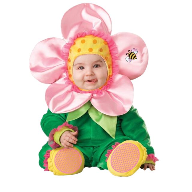 Carnaval de la Navidad de Navidad de Halloween de Los Bebés Traje Infantil Flor Cosplay Niños Recién Nacidos de Los Mamelucos Que Arropan el sistema