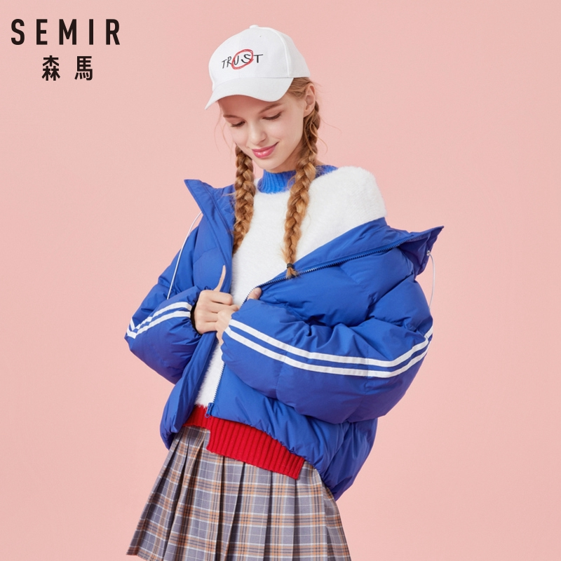 SEMIR hooded parka winter jacket women short   down   padded womens   coat   winter jacket women solid color parka winter jackets