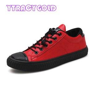 Image 2 - YTracyGold/Модная Мужская Повседневная обувь; кроссовки из искусственной кожи; Мужская Вулканизированная обувь на плоской подошве; Уличная обувь; Zapatos De Hombre; Цвет Черный; Zapatillas