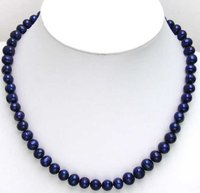 Beautiful High Luster Dark Blue 8mm Freshwater Pearl Necklace 5450 Whole Sale And Retail Free Shipping