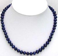 Hermosa Alto brillo Azul Oscuro 7-8mm de agua dulce collar de Perlas-5450 toda la venta y al por menor Envío gratis