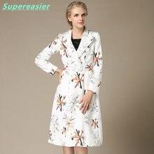2016 Fashion Slim White Women Double-breasted Trench Coat Outwear Windbreaker Summer Spring Thin Long Windbreaker Plus Size