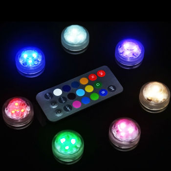100pcs/Lot Remote Control Submersible LED Party Tea Mini Light With Battery for Wedding Decor