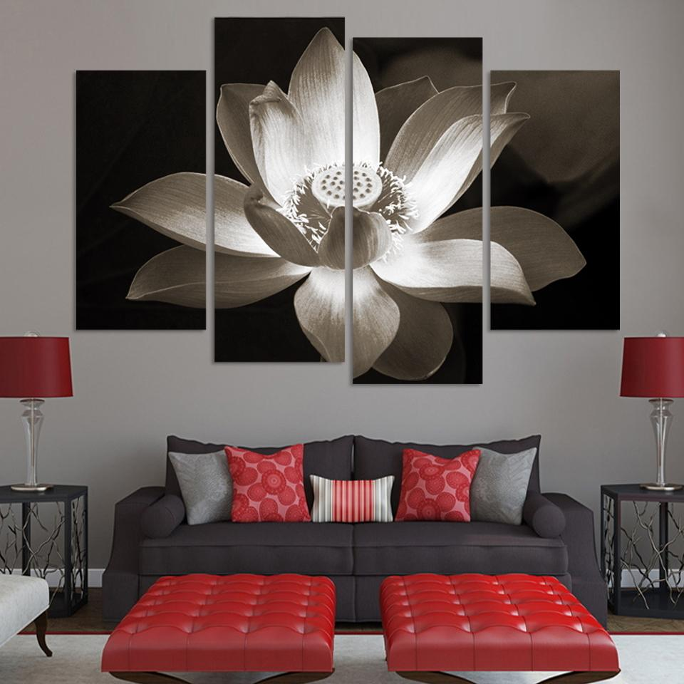 4panel Modern Wall Art Home Decoration Printed Flower Oil Painting