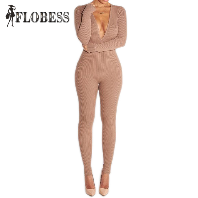 2016 Mulheres Sexy Moda Bodycon Jumpsuits Rompers Bodysuits Profunda V pescoço Para Trás Zip Femme Longo Trecho Calças de Manga Longa Plus Size tamanho
