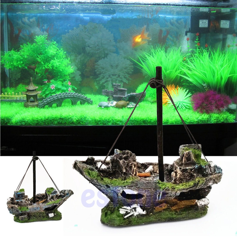 Wreck Sunk Ship Aquarium Ornament Sailing Boat Destroyer Fish Tank Cave Decor image