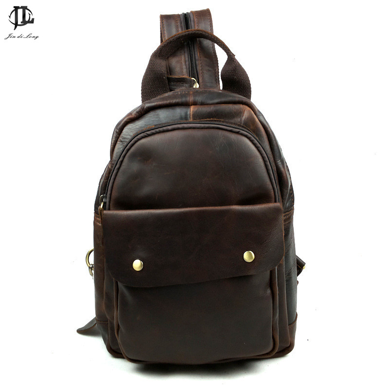New Retro Crazy Horse Genuine Leather Men Women Sling Shoulder Bag Leisure Travel Bags Back Chest Pack free shipping 2017 new trend fashion retro oil wax genuine leather men chest pack sling shoulder bag casual travel zipper bags vintage