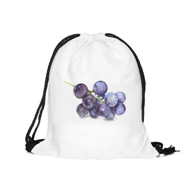 White Drawstring Bag Grape Purple 3D Printed Teenager School Backpack  Portable Women Tote Pouch Travel Storage 9b3308047c
