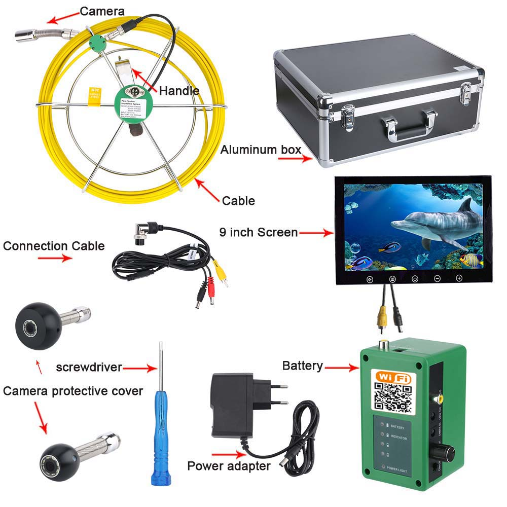 Video Surveillance Surveillance Cameras 9inch Wifi Wireless 17mm Industrial Pipe Sewer Inspection Video Camera System Ip68 1000 Tvl Camera With 8pcs Lights In Short Supply