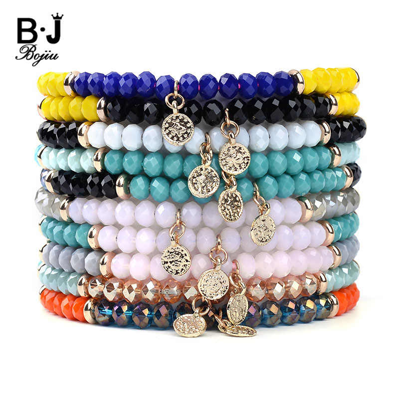 BOJIU 10 Colors Handmade Lucky Crystal Bracelets For Women Black Pink Red Gray Green Rope Charm Bracelet Valentine's Gift BC243