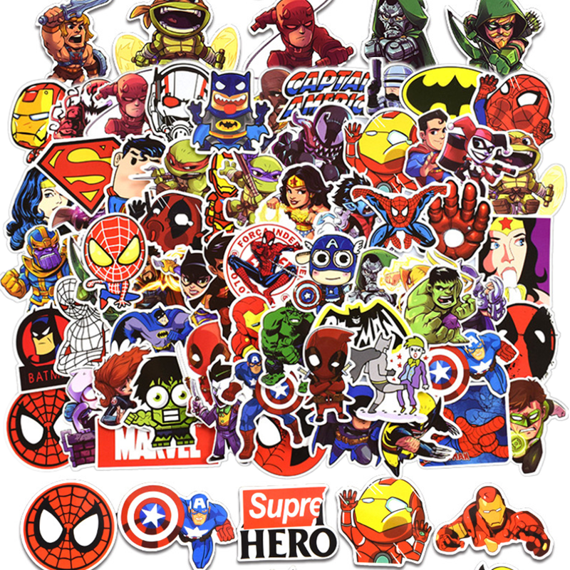 Funny 25 50 100 Pcs  PVC Waterproof Sticker Don't Repeat Super Hero Cool Stickers For Laptop Car Styling Phone Motorcycle