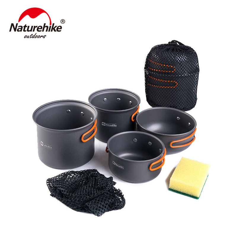 Naturhike New Ultralight Outdoor Camping Cookware Utensils Four Combination Cookware Tableware For Picnic Bowl Pot Pan