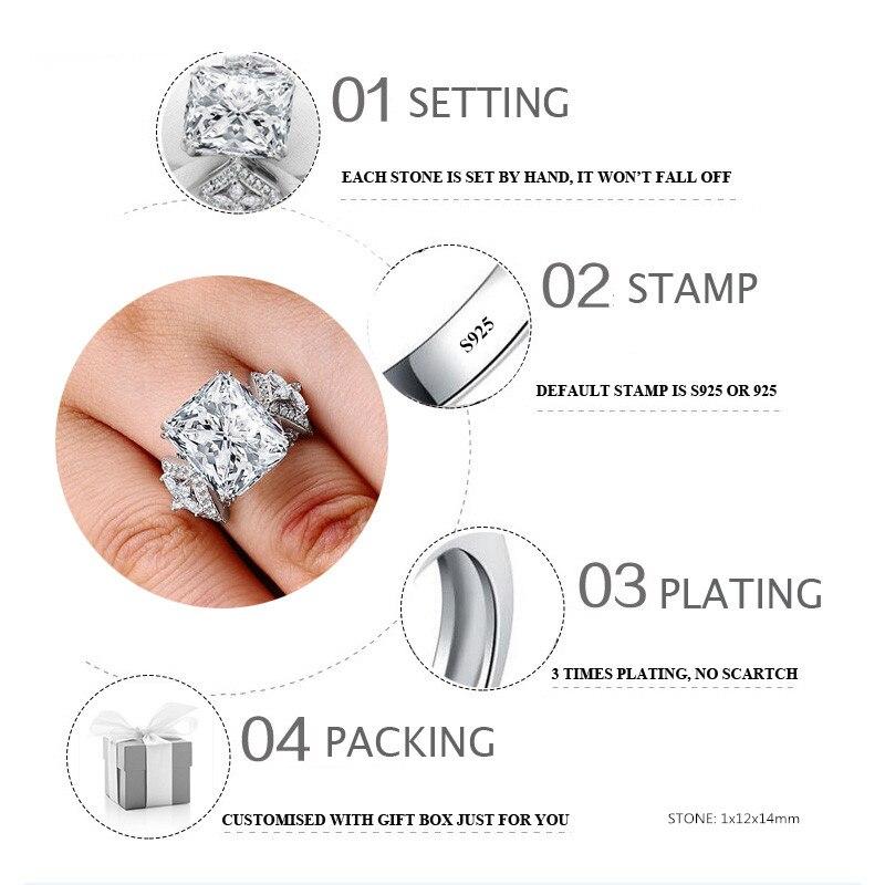 Sona NIET NEP Fijne Graveren Ring S925 Sterling zilveren Diamanten Custom ring Originele Ontwerp 925 vierkante cut-in Ringen van Sieraden & accessoires op  Groep 2