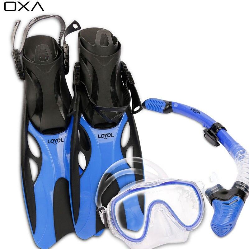 New Adult Adjustable Scuba Diving Mask font b Snorkel b font Foot Flippers Set Swimming mask