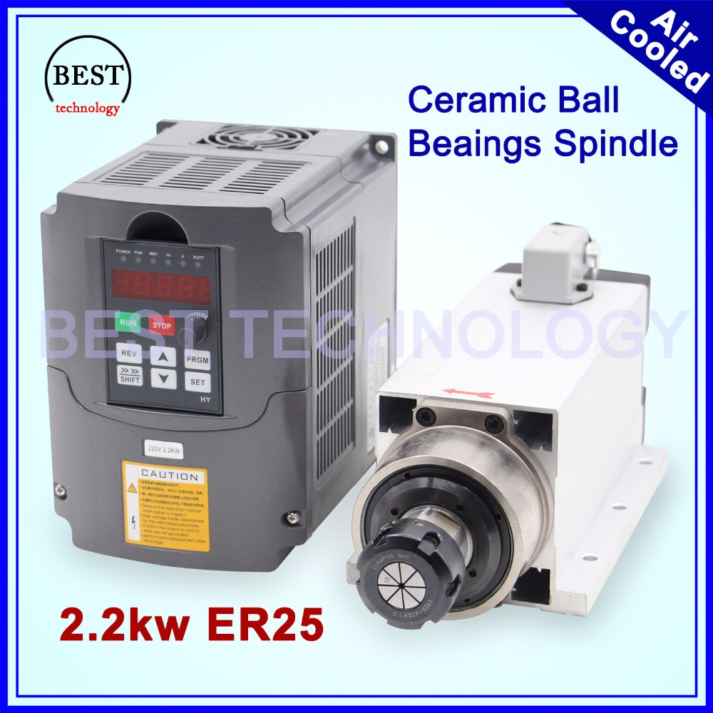 New Arrival! 2.2kw ER25 air cooled spindle 4 pcs bearings 220v Ceramic ball bearings with flange & 2.2kw Inverter VFDNew Arrival! 2.2kw ER25 air cooled spindle 4 pcs bearings 220v Ceramic ball bearings with flange & 2.2kw Inverter VFD