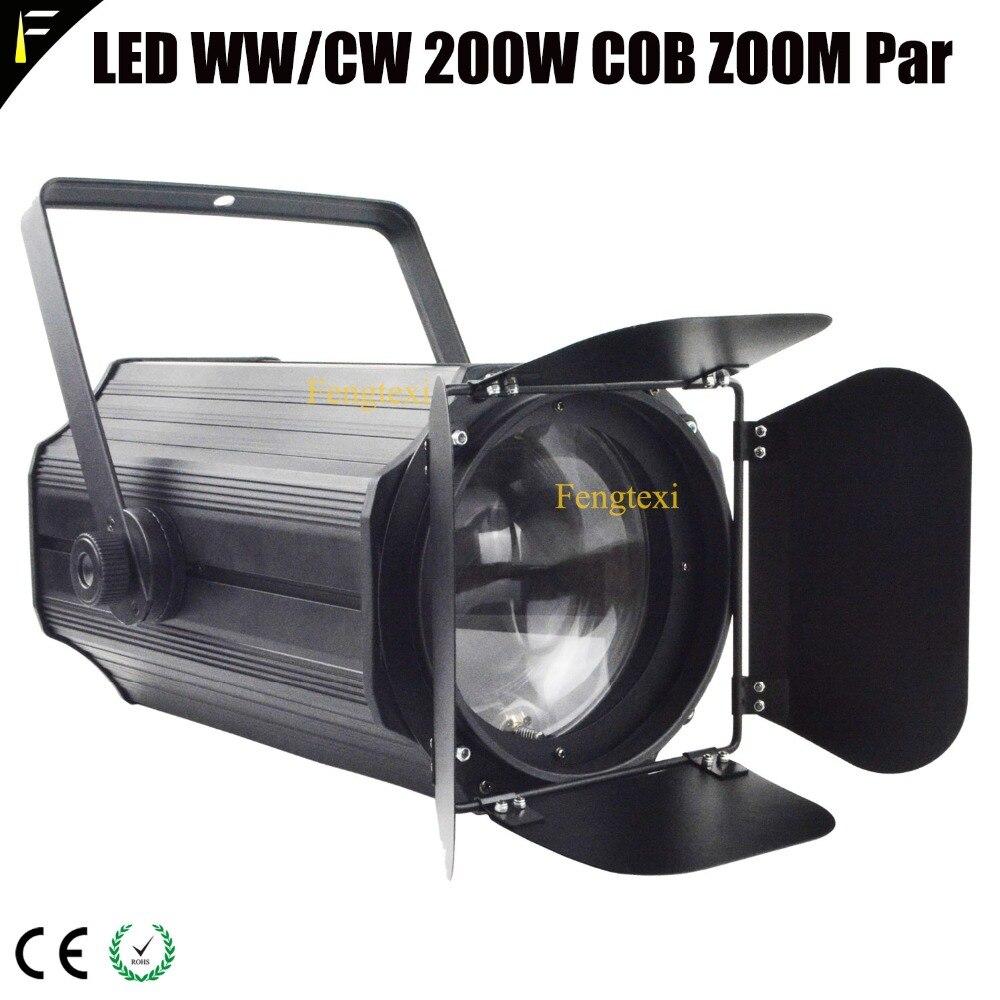 Electric Zoom COB LED 200w Blinder Par Light With Barn Door 3000K/5600K Stage Front Audience Wedding Light Par Can 200 Watt