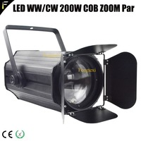 Electric Zoom COB LED 200w Blinder Par Light with Barn door 3000K/5600K Stage Front Audience Wedding Light Par Can 200 watt