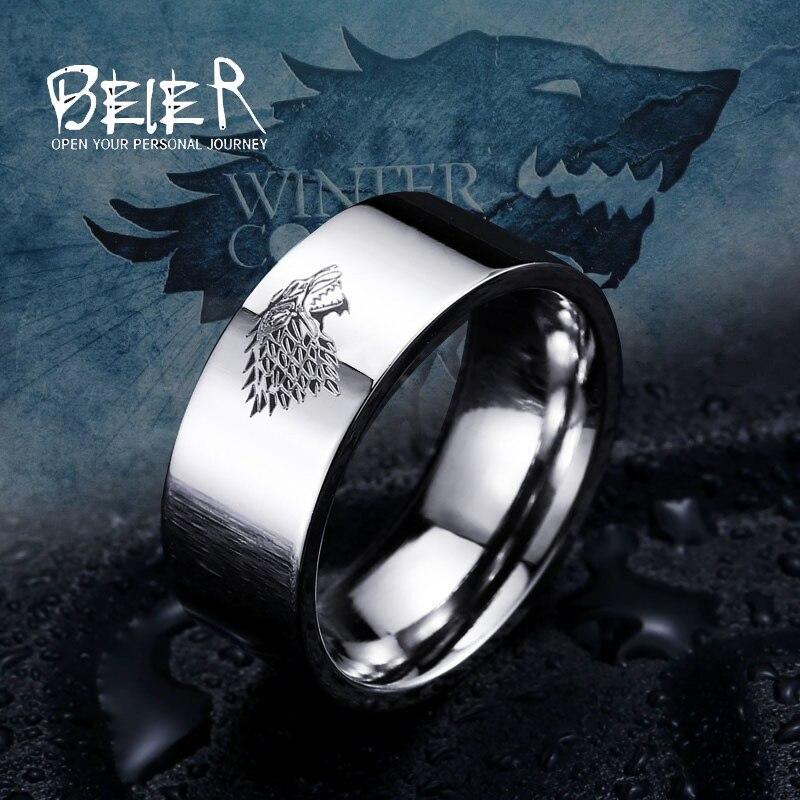 נירוסטה טבעת משחק של קרח הכס זאב בית סטארק Winterfell גברים טבעת לייזר חקוק ויקינג זאב טבעת LUO001