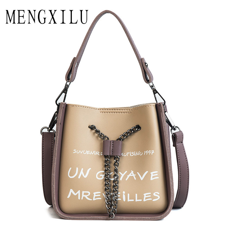 MENGXILU High Quality Chains Bags <font><b>Handbags</b></font> Women Famous Brand Women Shoulder Bag Over Shoulder PU Leather Female Small Sac <font><b>tans</b></font>