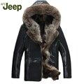 Hombres abrigo de pieles de lujo genuino abrigo de cuero prendas de vestir exteriores medio-largo de cuero de vaca engrosamiento de apertura de cama forro de cuello de mapache 1400