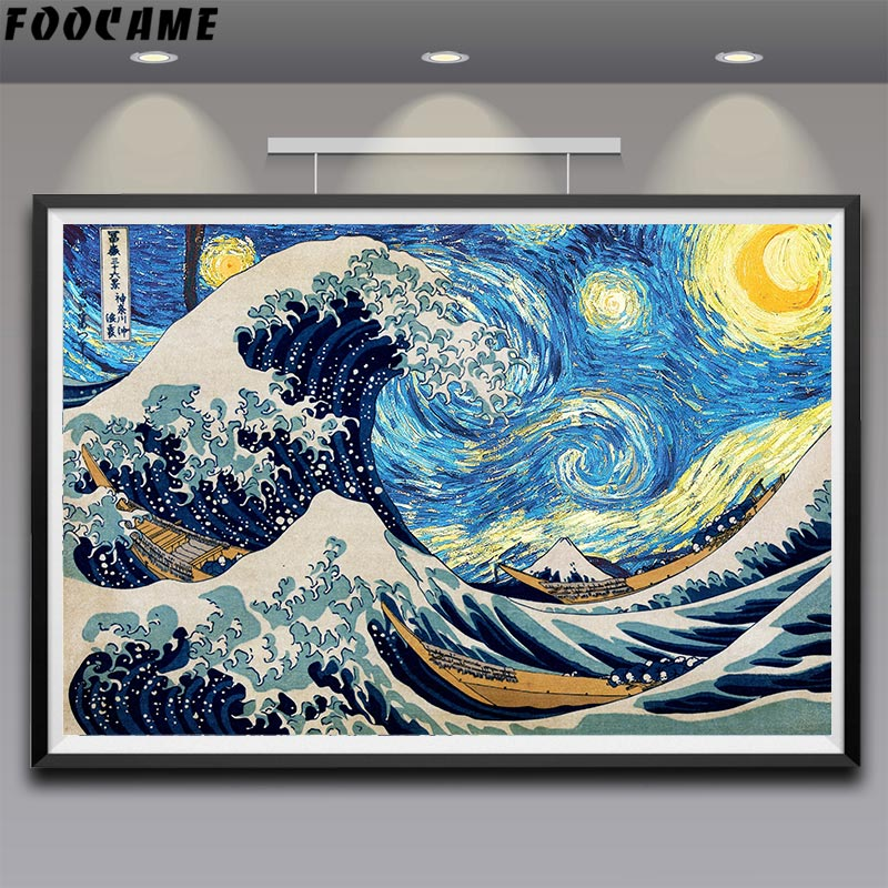 FOOCAME Vincent Van Gogh Katsushika Hokusai The Great Wave Off Kanagawa Art Silk Poster Print Decoration Pictures Wall Painting