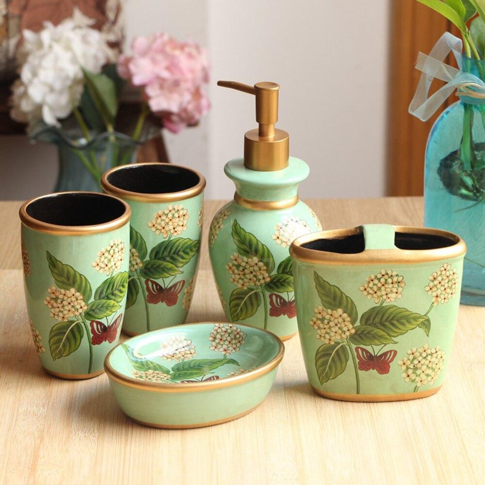 American country retro ceramic bathroom five-piece suit Garden bathroom mug cup soap box Toiletries LO871146 simple bathroom ceramic wash four piece suit cosmetics supply brush cup set gift lo861050