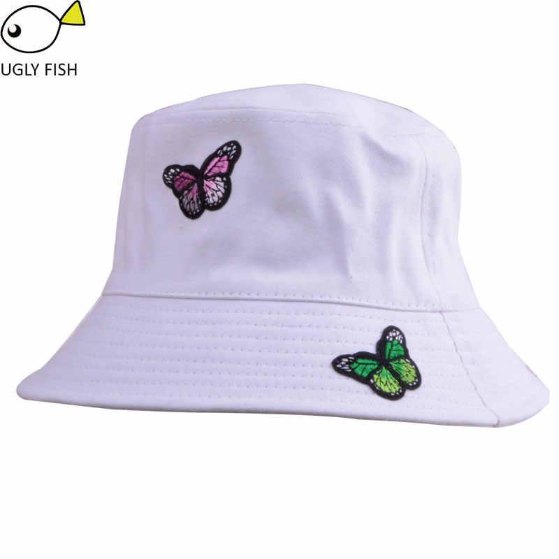 db737bdd721 ... bucket hat hip hop hiking outdoor panama bob hat bucket summer harajuku cute  dog cat butterfly ...