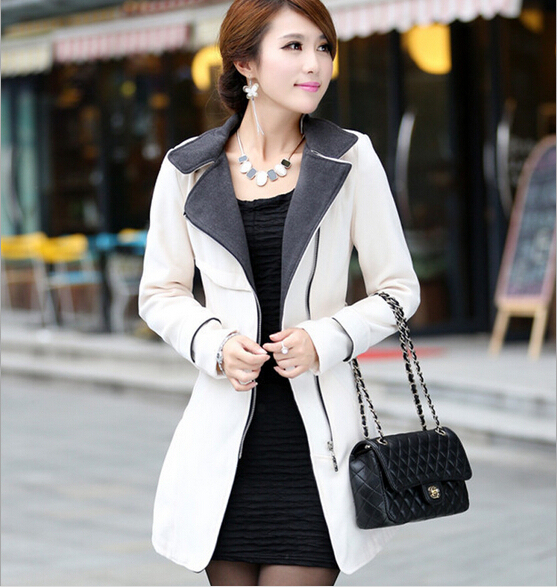 Primavera outono novo slim era magro seções longas de lã trincheira mulheres gola de lã casacos com cintos de várias cores senhoras S744