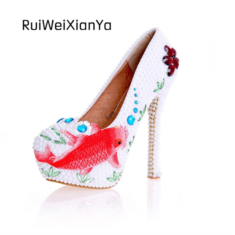 2017 New Fashion Spring Mermaid Princess Ladies Party Shoes Women Pumps High Heels Bridal White Wedding Shoes Plus Size Hot Sale 2017 new fashion spring ladies pointed toe shoes woman flats crystal diamond silver wedding shoes for bridal plus size hot sale